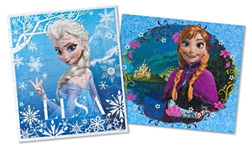 Frozen Disney Pack Of 2 48 Piece Jigsaw Puzzles Featuring Disney Frozen Characters Princess Anna and Princess Elsa Puzzels Puzzles Measure 9.125 BY 10.375 - 1