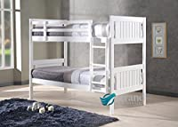 New Milan Wooden Kids Bunk Bed White Shaker Style Modern Childrens 3FT Single Bed Frame Bedroom Furniture