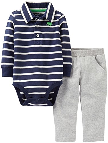 Carter'S Baby Boys' 2 Piece Polo Layette Set (Baby) - Navy - 24 Months front-211949