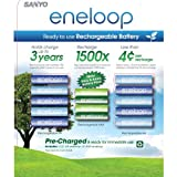 Sanyo Eneloop New NiMH Pre-Charged 10 Rechargeable AA and 4 Rechargeable AAA Batteries