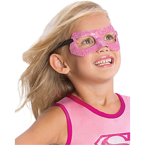 Supergirl Pink Glitter Kids Mask - One Size