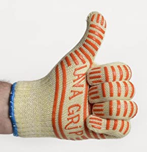 Cooking Gloves That DEFY Heat Up to 662F - Best Reviewed Heat Resistant Kitchen Gloves ★ INSULATED WITH SPACE AGE NOMEX AND KEVLAR MATERIAL ★ Designer Gloves are Perfect for BBQ, Baking, Fireplace and Even Changing Lightbulbs! - Silicone Stripes For S