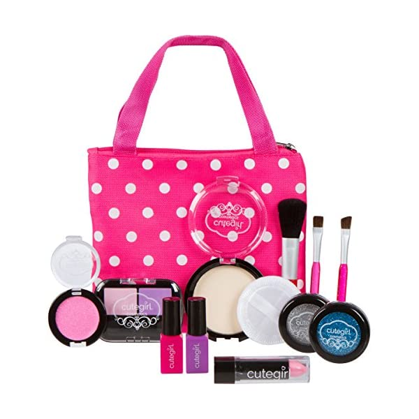 "51d8fc674502 Cutegirl Cosmetics Pretend Play Makeup Kit. Designer Girls ""Polka Dot""  Essential Bag Set"