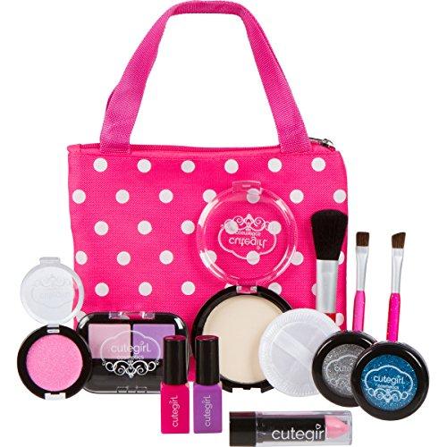 Cutegirl-Cosmetics-Pretend-Play-Makeup-Kit-Designer-Girls-Polka-Dot-Essential-Bag-Set
