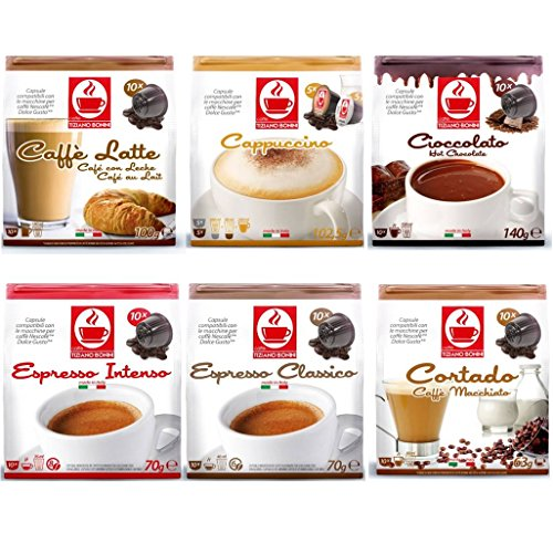 Shop for 60 Dolce Gusto Compatible Coffee & Hot Chocolate Capsules Variety Pack - 6 Different Blends by Tiziano Bonini