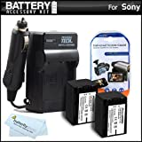 2 Pack Battery And Charger Kit For Sony HDR-CX220, HDR-CX220/B, HDR-CX220/L, HDR-CX220/R, HDR-CX220/S HD Camcorder Includes 2 Extended Replacement (2300Mah) NP-FV70 Batteries + Ac/Dc Travel Charger + MicroFiber Cloth + More