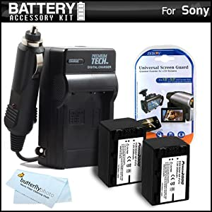 2 Pack Battery And Charger Kit For Sony HDR-CX230, HDR-CX230/B HD Camcorder Includes Extended Replacement (2300Mah) NP-FV70 Batteries + Ac/Dc Travel Charger + MicroFiber Cloth + More