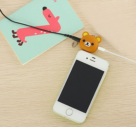 E-More® Cute Universal 3.5Mm Audio Headphone Earphone Splitter With One Suction Cup For Iphone 4 4S 5 5C 5S Mp3 Players (Brown)