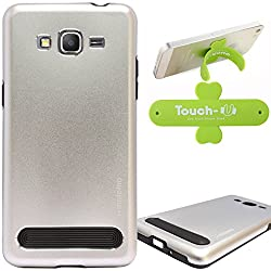 DMG Motomo Ultra Tough Metal Shell Case with Side TPU Protection for Samsung Galaxy Grand Prime G530H (Silver) + Touch U Mobile Stand