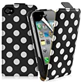 Supergets® Apple iPhone 4 / 4S Polka Dot Top Flip Case Covers, Screen Protector And Polishing Cloth ( Black )