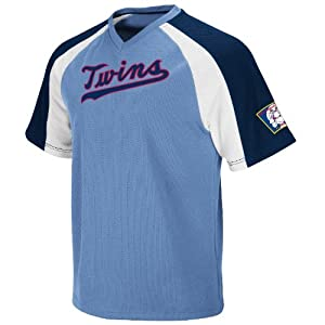 Minnesota Twins Majestic Cooperstown Light Blue V-Neck Crusader Jersey by Majestic