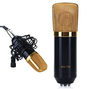 Wmicro NEWEST Condenser Microphone Music Recording Mic 3.5mm with Shock Mount for Computer Karaoke/Voice Pick Up/Radio Broadcasting Studio/Recording Studio/Internet Chat Black