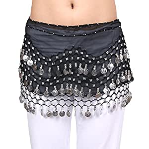 BellyRose Chiffon Dangling Gold Coins Black Belly Dance Hip Scarf, Vogue Style