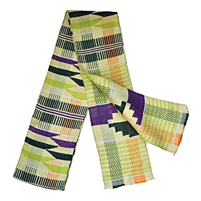 """Family Cloth"" Kente Cloth Stole Yellow, Green and Purple Traditional Sash"