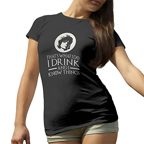 Game Of Thrones I Drink And I Know Things Tyrion Lannister Nero T-Shirt maglietta per le donne X Large