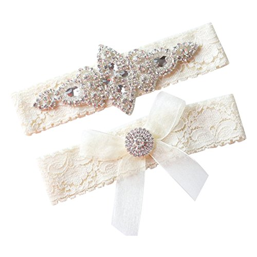 Rhinestone and Ivory Wedding Garter Set
