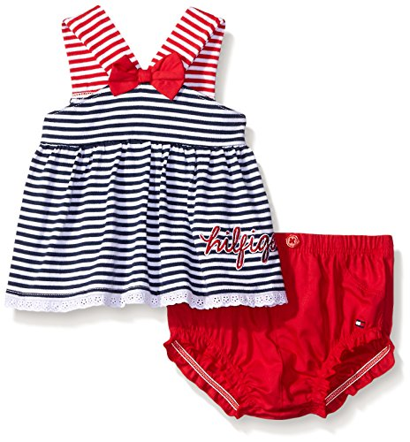 Tommy Hilfiger Baby Girls' Yarn Dyed Striped Jersey Top and Poplin Diaper, Red/Navy, 12 Months