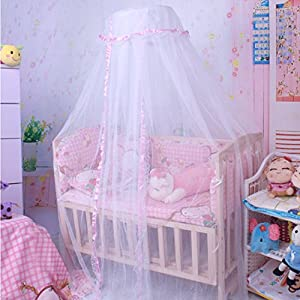 COFFLED® Baby Mosquito Net Baby Toddler Bed Crib Canopy Netting Dome Hanging Mosquito Soft Breathable