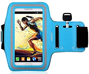 [Samsung Galaxy S5 Armband] iXCC ® Racer Series Easy Fitting [Sport Gym Bike Cycle Jogging Running Walking ] Armband - Featured with Scratch-Resistant Material, Slim Lightweight, Dual Arm-Size Slots (for Small and Large Arms), Sweat Proof and Key Pocket [blue]