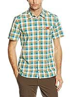 SALEWA Camisa Hombre Valparola Dry M (Turquesa / Beige / Blanco)