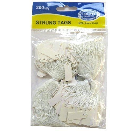 Blanc Mini à cordes Prix étiquettes - Pack de 200 - Taille 9mm x 24mm