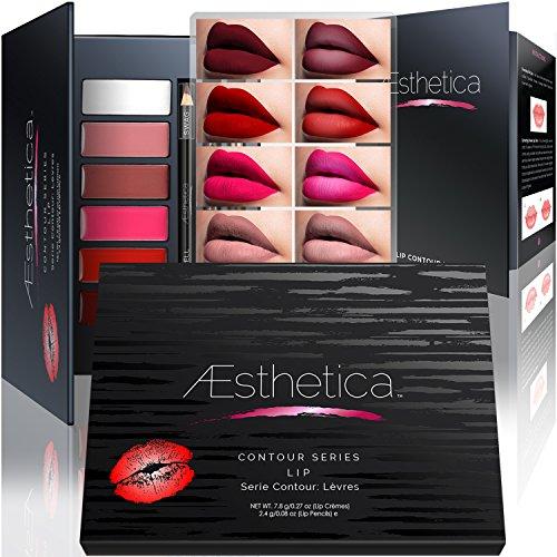 Aesthetica Matte Lip Contour Kit, Includes Six Lip Crèmes, Four Lip Liners, Lip Brush (Vegan & Cruelty Free)