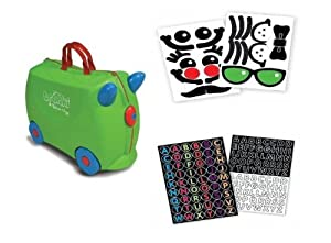 Trunki Ride-On Luggage - Jade GREEN with BONUS Personalization and Fun Face Stickers
