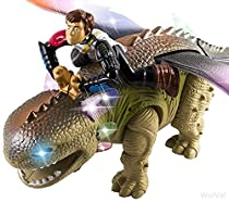 WolVol Prehistoric Dinosaur Rider Toy with Flashing Lights & Loud Sounds, Wide Wings & Long Tail, Walks and Crawls on its Own - Beautiful Color and Design