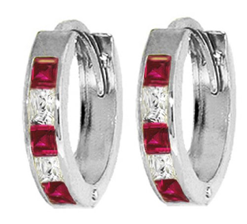 .925 Sterling Silver Hoop Earrings with Imitation Rubies & Cubic Zirconia CZ