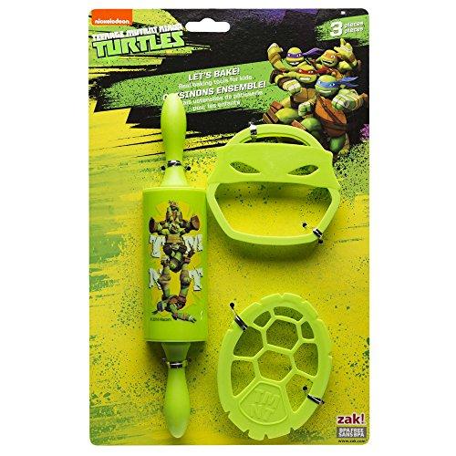 Zak Designs TNTR-S100 Ninja Turtles 3 Piece Kids Baking Set for Cookies, Decorated