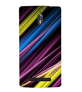 printtech Colored Streaks Abstract Back Case Cover for Oppo Find 7
