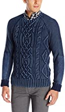 Nautica Men's Cotton Stonewashed Mixed Media Cable Crew Sweater, Navy, Large