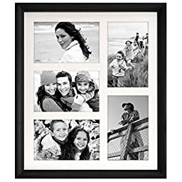 Malden International Designs Home Profiles Black Matted Wall Collage Wood Frame, 5 Option, 5-4x6, Black