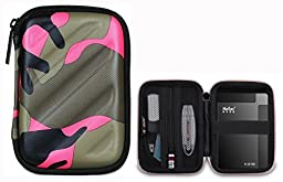 BUBM Electronics Accessories Organizer Travel Carrying Case Digital Storage Bag EVA Series for Hard drive(EHD-L,Camouflage Rose)