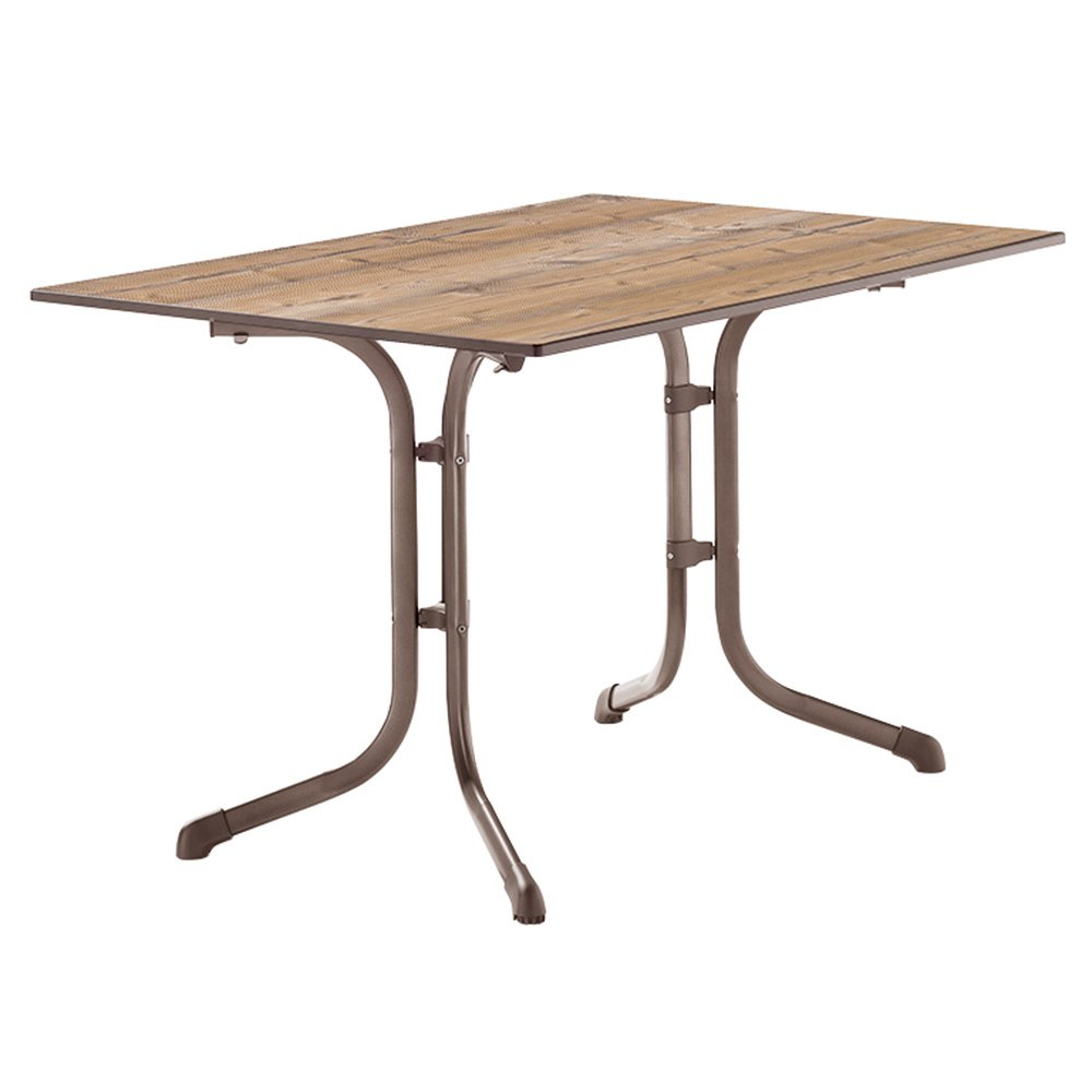 Sieger 1160-75 Boulevard-Tisch mit Puroplan-Platte 120 x 80 cm, Stahlrohrgestell marone, Tischplatte Holzstruktur Fichte günstig online kaufen