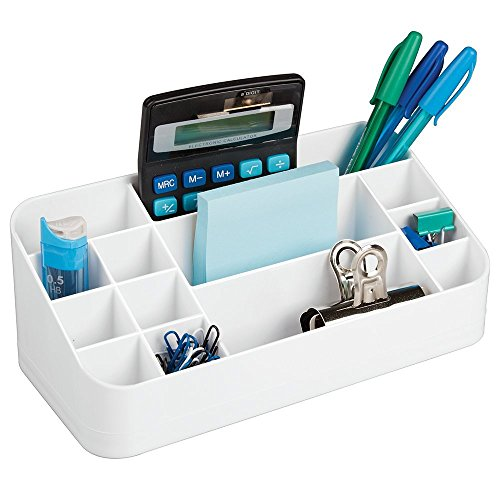 mdesign desk organizer white office supplies filing organization organizers. Black Bedroom Furniture Sets. Home Design Ideas