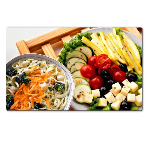 Healthy Food Feta Salad Vegatables Table Mats Customized Made To Order Support Ready 28 6/16 Inch (720Mm) X 17 11/16 Inch (450Mm) X 1/8 Inch (4Mm) High Quality Eco Friendly Cloth With Neoprene Rubber Luxlady Large Deskmat Desktop Mousepad Laptop Mousepads