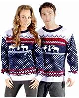 Catch 22 Christmas Xmas Jumper Sweater Mens Ladies Unisex Fairisle Reindeer Classic Retro Vintage Novelty Color-Navy and White Fairisle Size-M