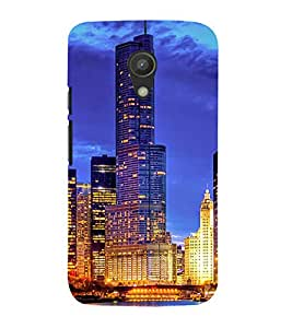 SKYSCRAPERS GLoWING WITH LIGHTS UNDER NIGHT SKY WITH THEIR REFLECTION FALLING IN LAKE WATER 3D Hard Polycarbonate Designer Back Case Cover for Motorola Moto G2 X1068 :: Motorola Moto G (2nd Gen)