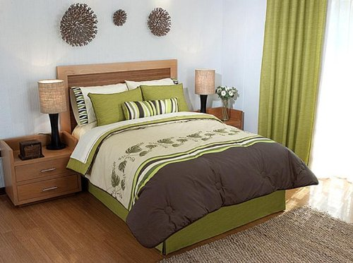 Green brown embroidery comforter sheet bedding set full 9 pcs - Brown and green bedroom ...