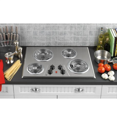 GE JP328SKSS 30 Electric Cooktop - Stainless Steel