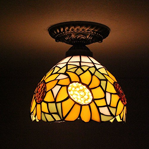 8-inch Vintage Pastoral Stained Glass Tiffany Sunflower Ceiling Light Living Room Chandelier Hallway Chandelier