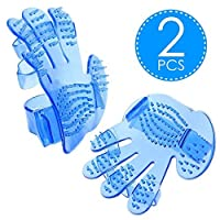My Pet Glove Comb | Special Set of 2 Blue Dogs Cats Massage Grooming Bath Pet Glove Brush with Extra Soft Bristles | Super Flexible Hypoallergenic Silicone | Super Adjustable To Any Hand and Pet | 849
