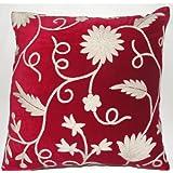 Crewel Pillow Floral Vine White On Red Cotton Velvet (16X16)