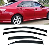 VIOJI 4pcs Dark Smoke Outside Mount Style Sun Rain Guard Vent Shade Window Visors Fit 07-11 Toyota Camry 4-Door Sedan Model Only