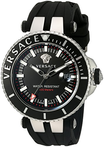 Versace-Mens-V-Race-Swiss-Quartz-Stainless-Steel-and-Silicone-Casual-Watch-ColorBlack-Model-VAK010016