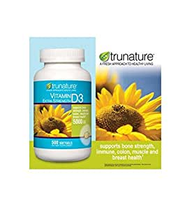 trunature Vitamin D3 5000 IU 500 Softgels