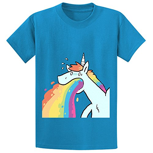 Andy Rainbow Unicorn Cute Teen Crew Neck Print T-shirt Blue (Chicken Pillow Pet compare prices)