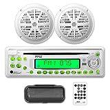 Pyle Marine Stereo Radio Headunit Receiver & Waterproof Speaker Kit, Aux (3.5mm) MP3 Input, CD Player, Remote Control, Includes (2) 5.25'' Speakers, Radio Splash Cover