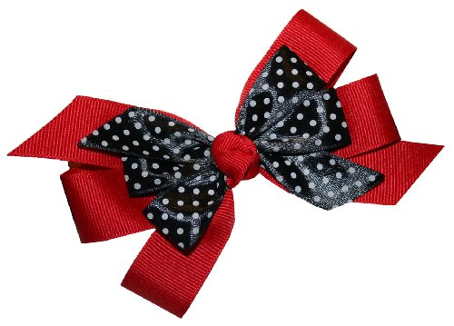 Webb Direct 2U Girls Black Dotted Grosgrain Hair Bow Alligator Clip Red 8008A front-784875